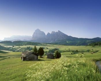 Alpe di Siusi met uitzicht op Sassolungo/Dolomieten gebergte