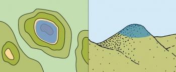 Het blauwe rondje geeft de top aan, zoals deze op de kaart wordt aangegeven