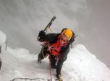 Katja bij ijsklimmen in Schotland