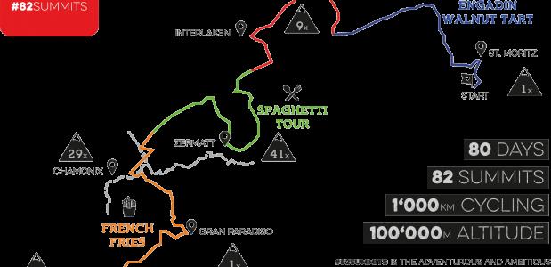 De route van het #82summits project. via 82summits.com