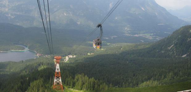 De huidige kabelbaan vanaf de Eibsee