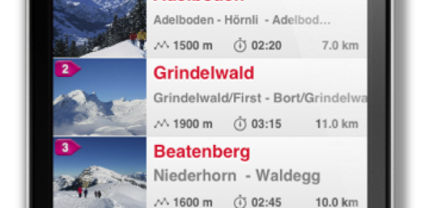 De iPhone app 'Swiss Winter Hike' van Zwitserland Toerisme