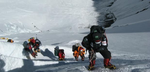 klimmers op de Mount Everest