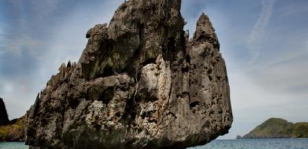 Een van de rotswanden