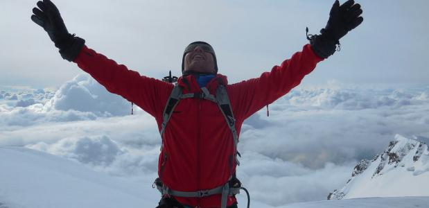 Sander op de top van de Mont Blanc