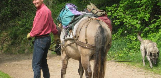 Harrie Huijben met zijn paard en hond