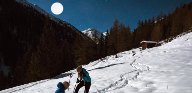 Sneeuwschoenwandeltocht bij volle maan in Oostenrijk