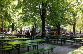 Een biergarten in München