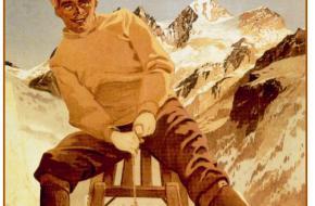 Een jongen in Kandersteg op een slee - ongeveer 100 jaar geleden