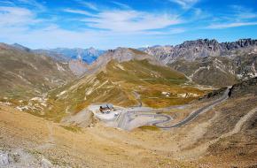 In Giro d'Italia aankomst op Col du Gabilier. Foto guido bellomo