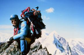 Jeff Lowe First Ascent NF Kwangde, Nepal 1982 Lowe Alpine Specialist Pack, photography by David Breashears from The Jeff Lowe Collection.