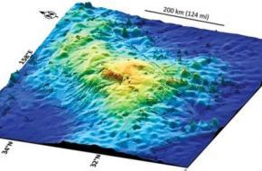 Kaart: William Sager. 3-D kaart van het Tamu Massief