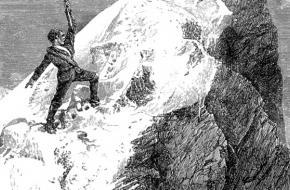 Tekening van de eerste topbeklimming van de Matterhorn in 1865
