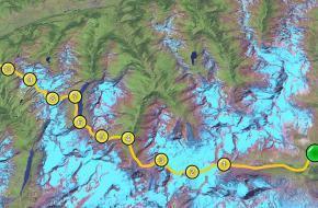 Route van Zermatt (groen) naar Verbier (rood)