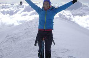 Shirley op de top van de Mont Blanc