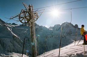 Skilift in de Franse Alpen