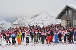Skiërs klaar voor de afdaling