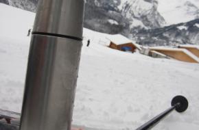 Skispullen op de piste. Foto Fenneke Visscher