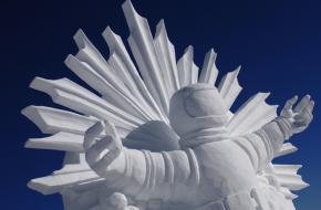Sneeuw- en ijssculpturen op de piste van Ischgl