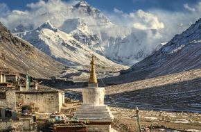 De Mt. Everest gezien vanuit Tibet
