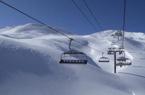 Skilift in het skigebied Tignes in Val d'Isere in Frankrijk